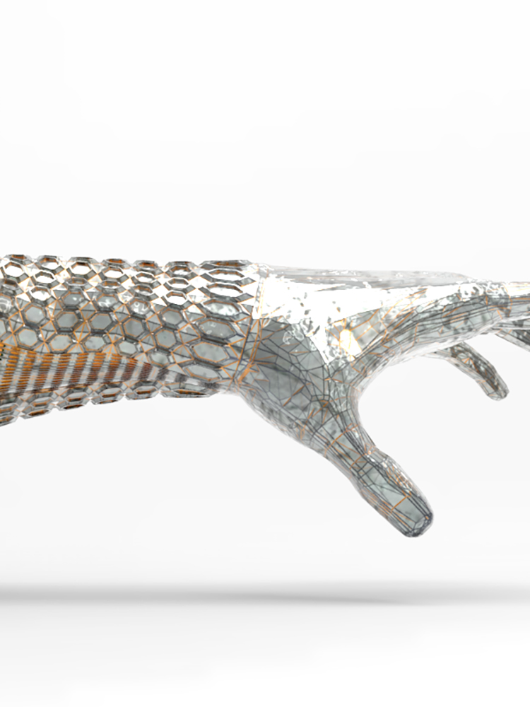 Render of textured bionic arm