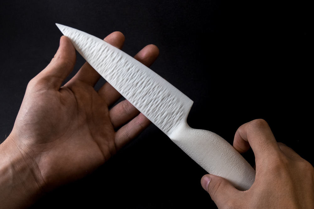 Procedurally textured chefs knife
